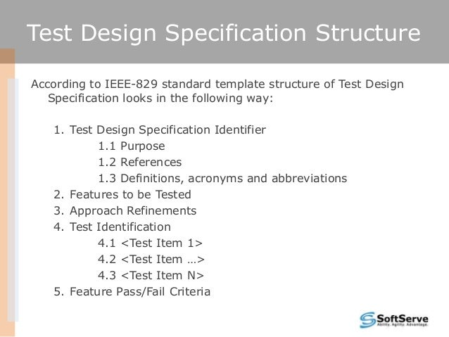ieee 829 test strategy template - test design