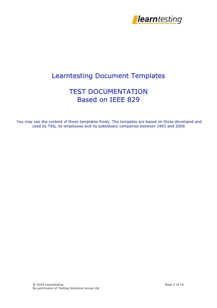 Learntesting Document Templates                                  TEST DOCUMENTATION                                   Base...