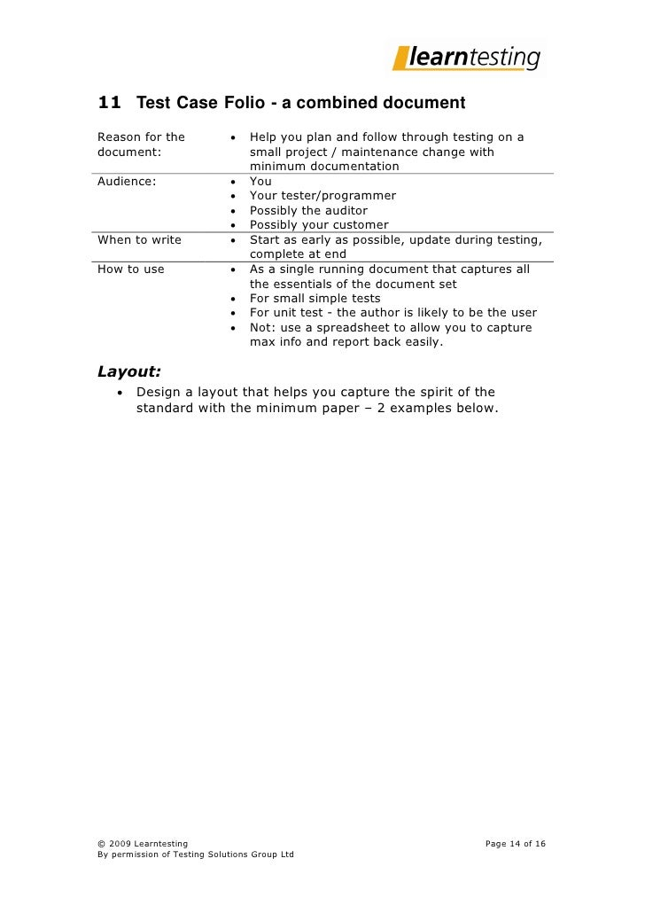 11 Test Case Folio - a combined document Reason for the                   Help you plan and follow through testing on a d...