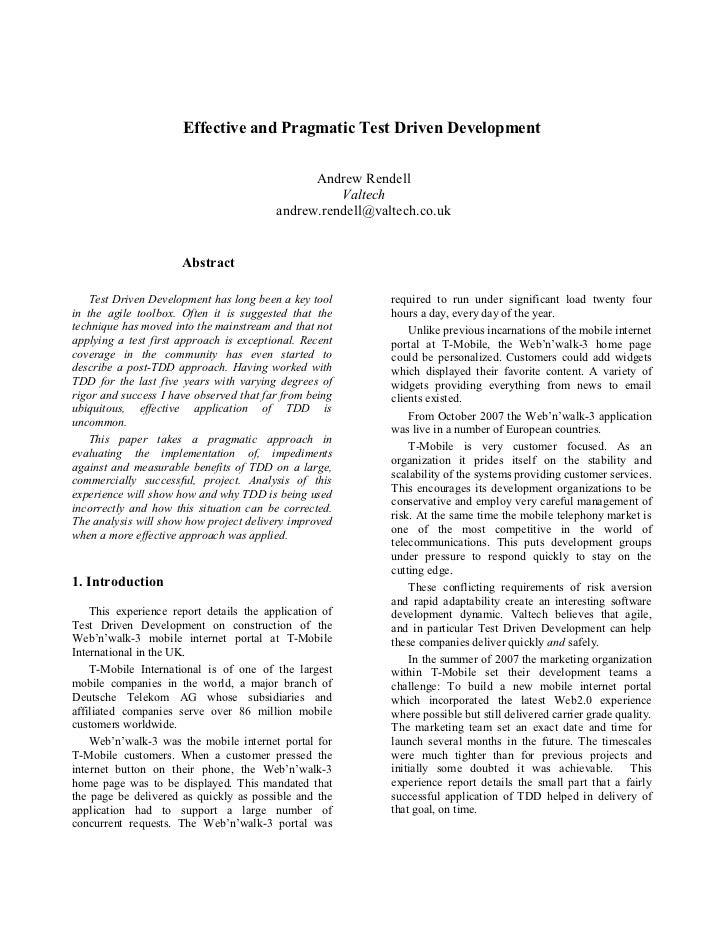 Effective and Pragmatic Test Driven Development                                                 Andrew Rendell            ...