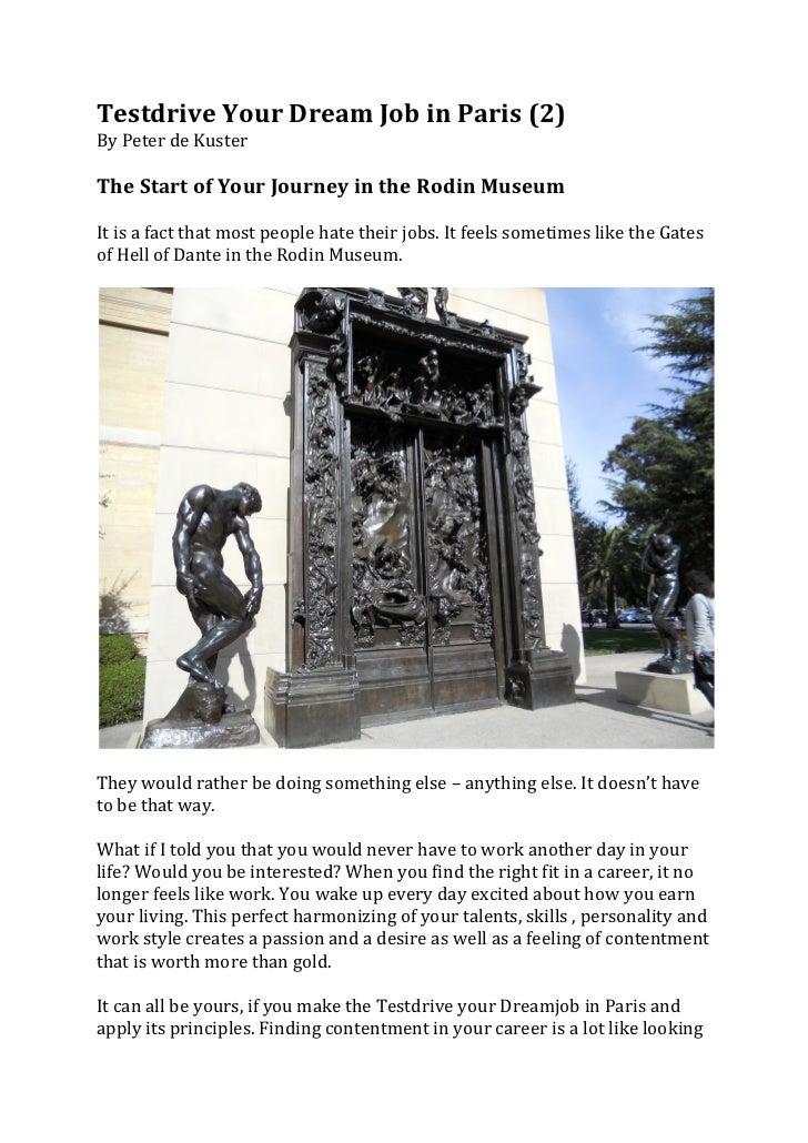 Testdrive Your Dream Job in Paris (2) By Peter de Kuster  The Start of Your Journey in ...