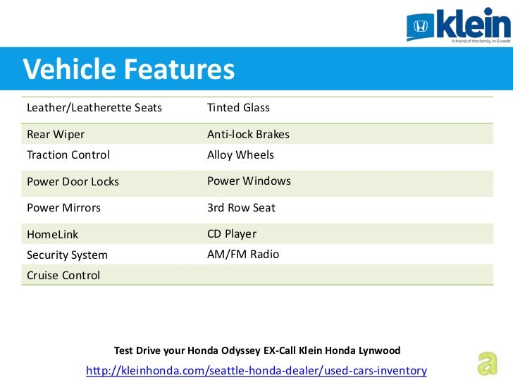 Test Drive Your Honda Odyssey Ex Call Klein Honda Lynwood