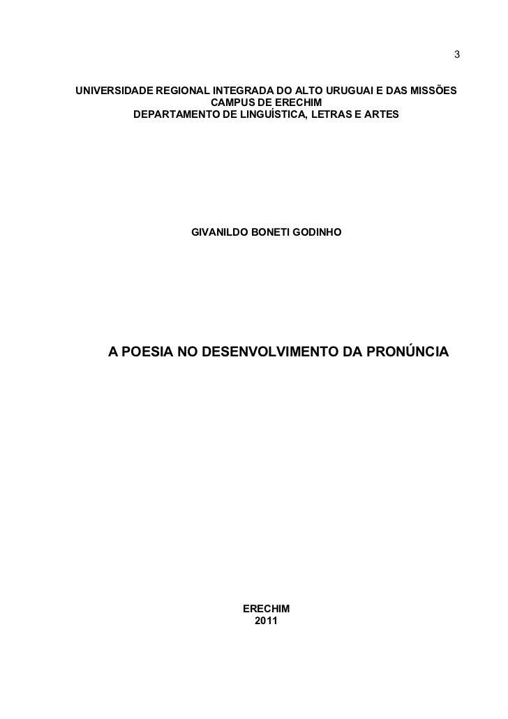 3UNIVERSIDADE REGIONAL INTEGRADA DO ALTO URUGUAI E DAS MISSÕES                     CAMPUS DE ERECHIM         DEPARTAMENTO ...
