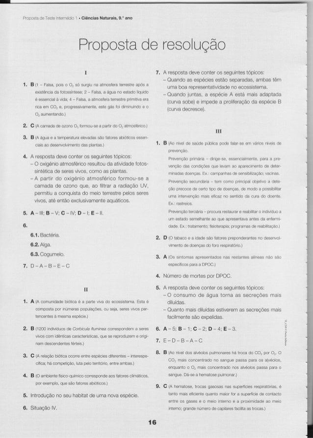 Prooosia Teste ntermédio . Ciências Naturais. 9. ano       de              1                                 Propcste reso...