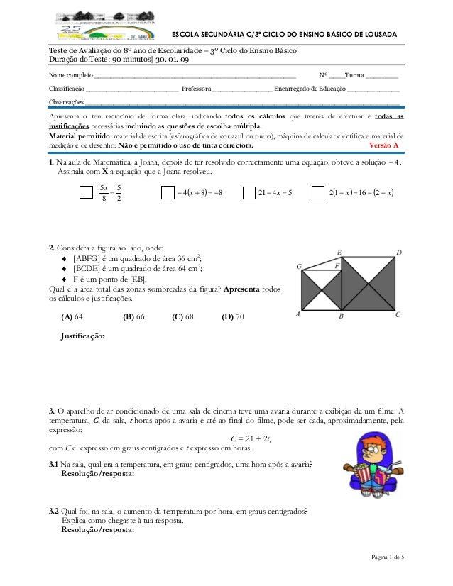 Página 1 de 5 ESCOLA SECUNDÁRIA C/3º CICLO DO ENSINO BÁSICO DE LOUSADA Teste de Avaliação do 8º ano de Escolaridade – 3º C...
