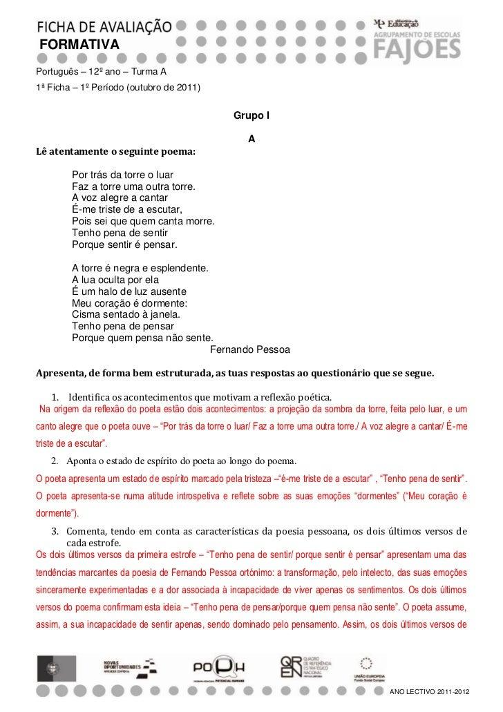 FORMATIVAPortuguês – 12º ano – Turma A1ª Ficha – 1º Período (outubro de 2011)                                             ...