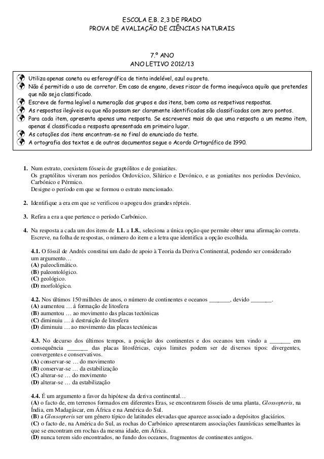 ESCOLA E.B. 2,3 DE PRADO                            PROVA DE AVALIAÇÃO DE CIÊNCIAS NATURAIS                               ...