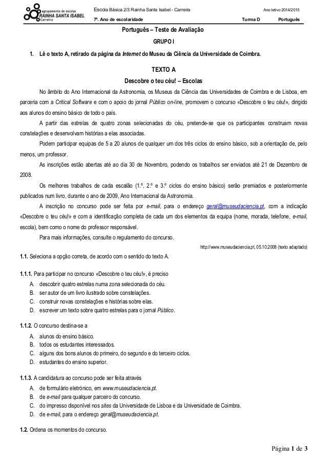 Escola Básica 2/3 Rainha Santa Isabel - Carreira Ano letivo 2014/2015 7º. Ano de escolaridade Turma D Português Português ...