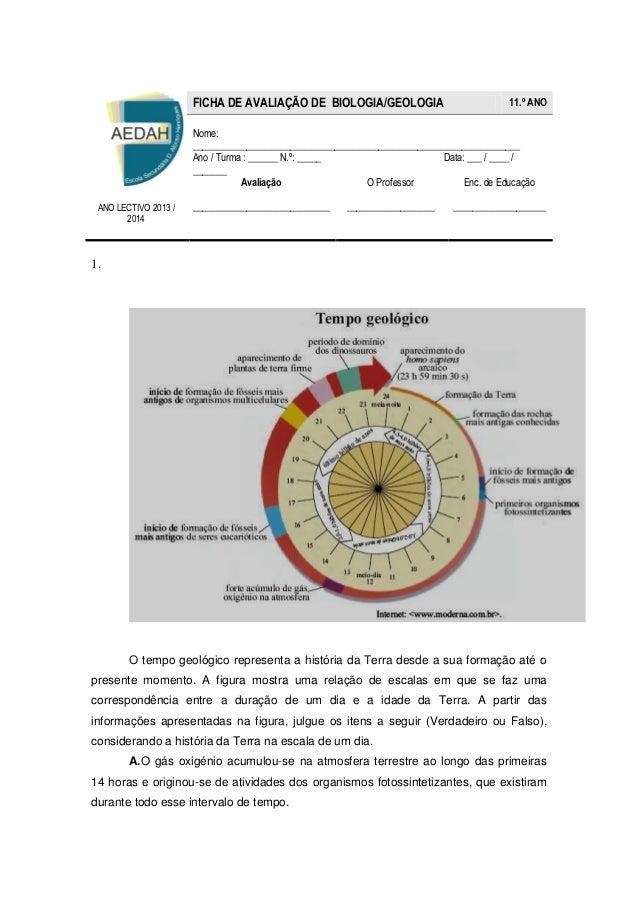 1.  O tempo geológico representa a história da Terra desde a sua formação até o presente momento. A figura mostra uma rela...