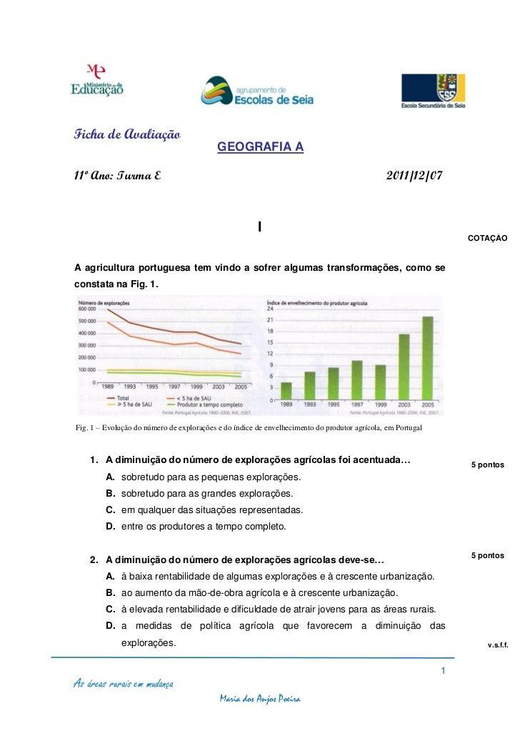 Ficha de Avaliação                                           GEOGRAFIA A11º Ano: Turma E                                  ...