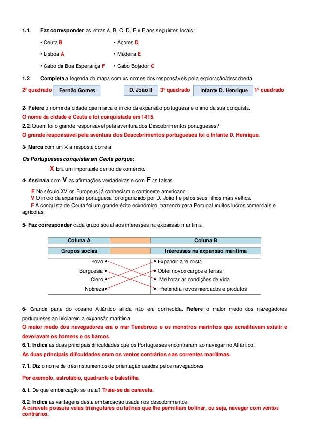 1.1. Faz corresponder as letras A, B, C, D, E e F aos seguintes locais: • Ceuta B • Açores D • Lisboa A • Madeira E • Cabo...