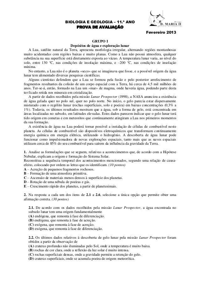 BIOLOGIA E GEOLOGIA – 11.º ANO                                PROVA DE AVALIAÇÃO                                          ...
