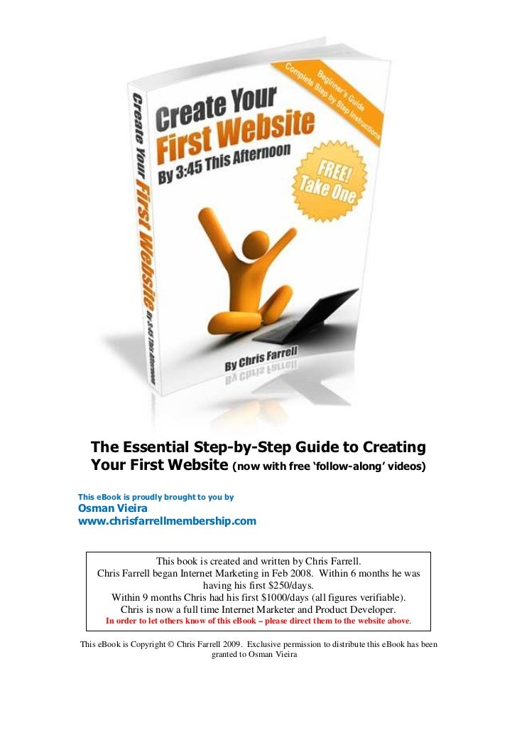 The Essential Step-by-Step Guide to Creating   Your First Website (now with free 'follow-along' videos)This eBook is proud...