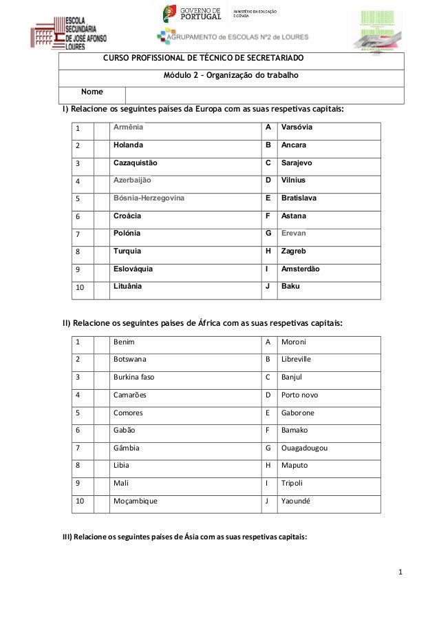 CURSO PROFISSIONAL DE TÉCNICO DE SECRETARIADO Módulo 2 – Organização do trabalho Nome I) Relacione os seguintes países da ...