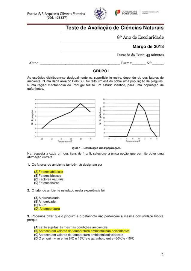 Escola S/3 Arquiteto Oliveira Ferreira (Cód. 403337) 1 Teste de Avaliação de Ciências Naturais 8º Ano de Escolaridade Març...