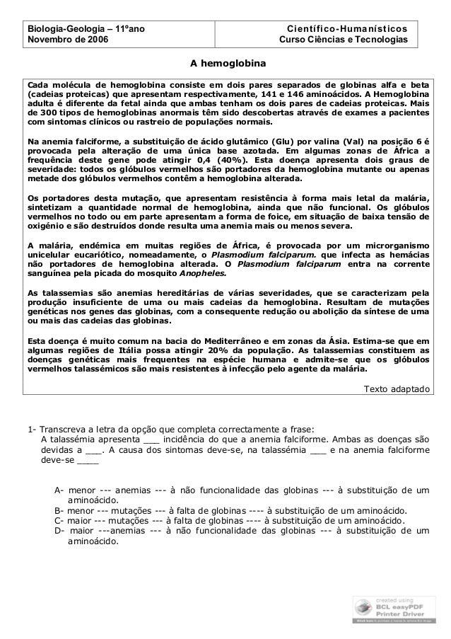 Biologia-Geologia – 11ºano Novembro de 2006  Científico-Humanísticos Curso Ciências e Tecnologias A hemoglobina  Cada molé...