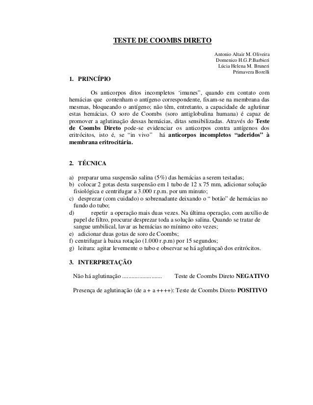 TESTE DE COOMBS DIRETO Antonio Altair M. Oliveira Domenico H.G.P.Barbieri Lúcia Helena M. Bruneri Primavera Borelli 1. PRI...