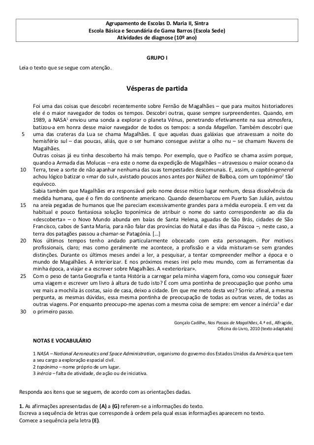 Agrupamento de Escolas D. Maria II, Sintra Escola Básica e Secundária de Gama Barros (Escola Sede) Atividades de diagnose ...