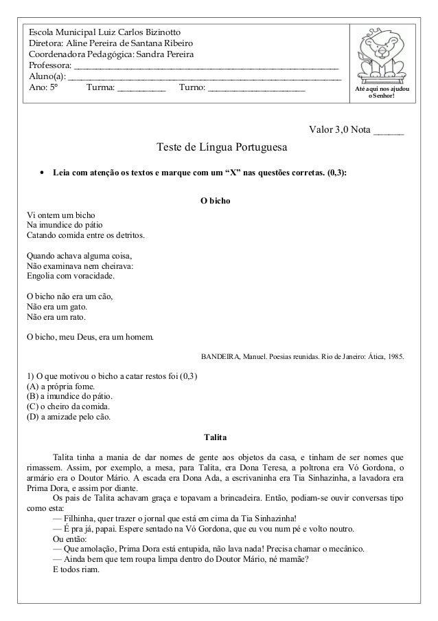 """Valor 3,0 Nota ______ Teste de Língua Portuguesa • Leia com atenção os textos e marque com um """"X"""" nas questões corretas. (..."""