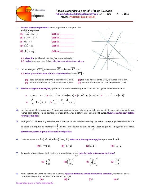 Escola Secundária com 3ºCEB de Lousada                                                  Ficha de Trabalho de Matemática do...