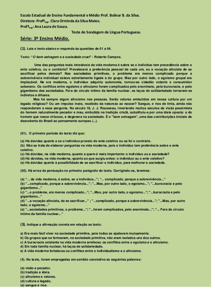 Escola Estadual de Ensino Fundamental e Médio Prof. Bolívar B. da Silva.<br />Diretora: Profª esp. Clara Orminda da Silva ...