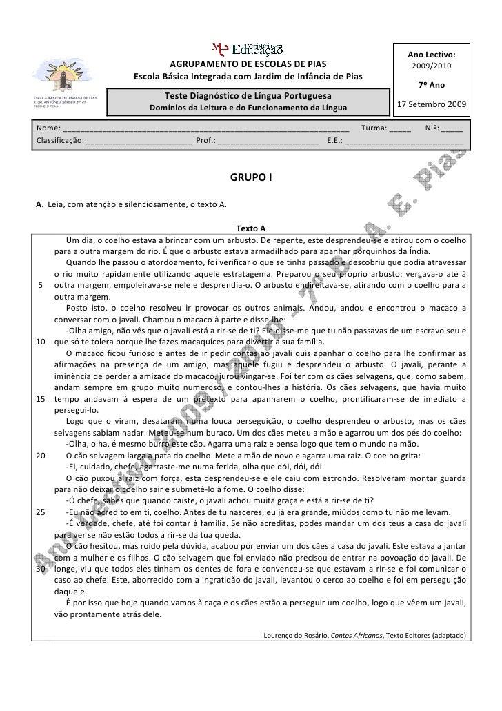 Ano Lectivo:                                   AGRUPAMENTO DE ESCOLAS DE PIAS                                           20...