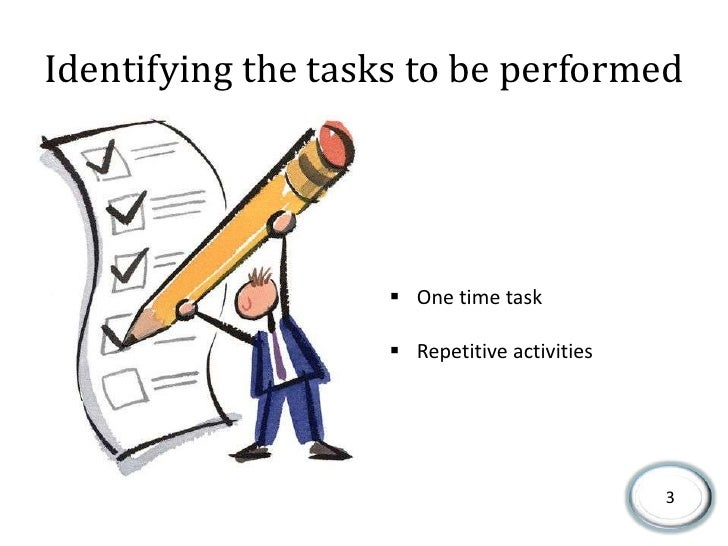 Identifying the tasks to be performed<br /><ul><li>One time task