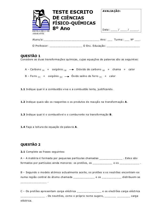 AVALIAÇÃO:                                 TESTE ESCRITO                                 DE CIÊNCIAS                      ...