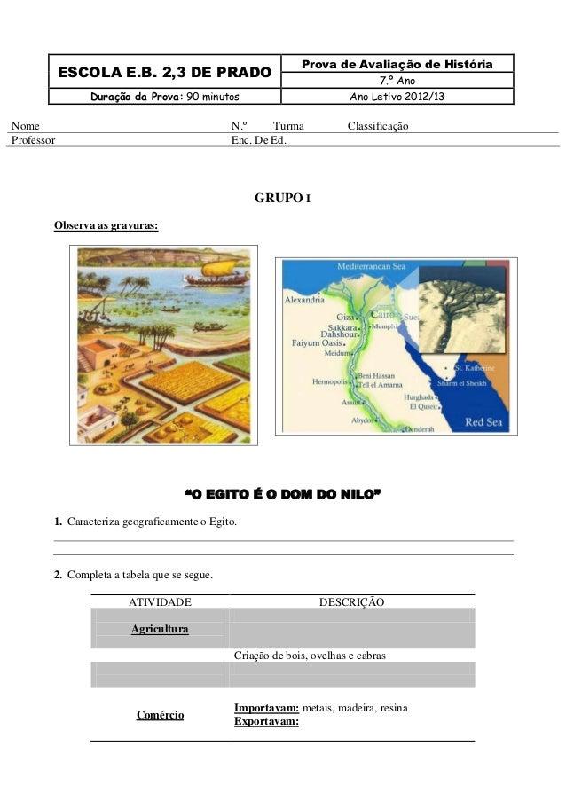 Prova de Avaliação de História            ESCOLA E.B. 2,3 DE PRADO                                                        ...