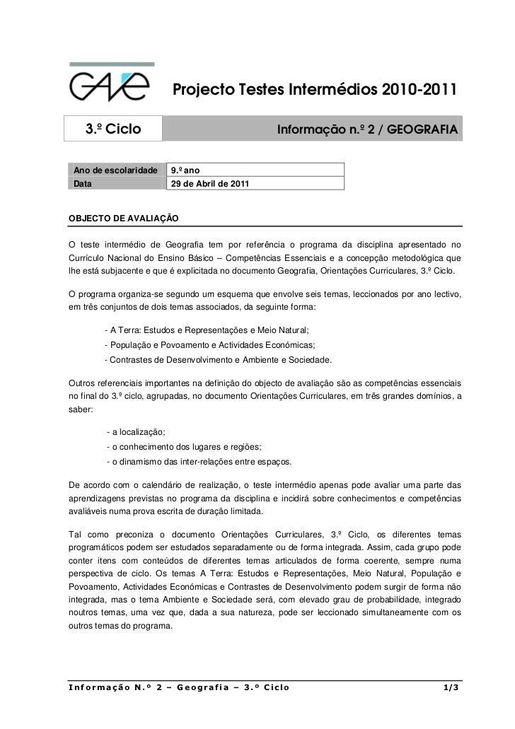 Projecto Testes Intermédios 2010-2011    3.º Ciclo                                        Informação n.º 2 / GEOGRAFIA Ano...