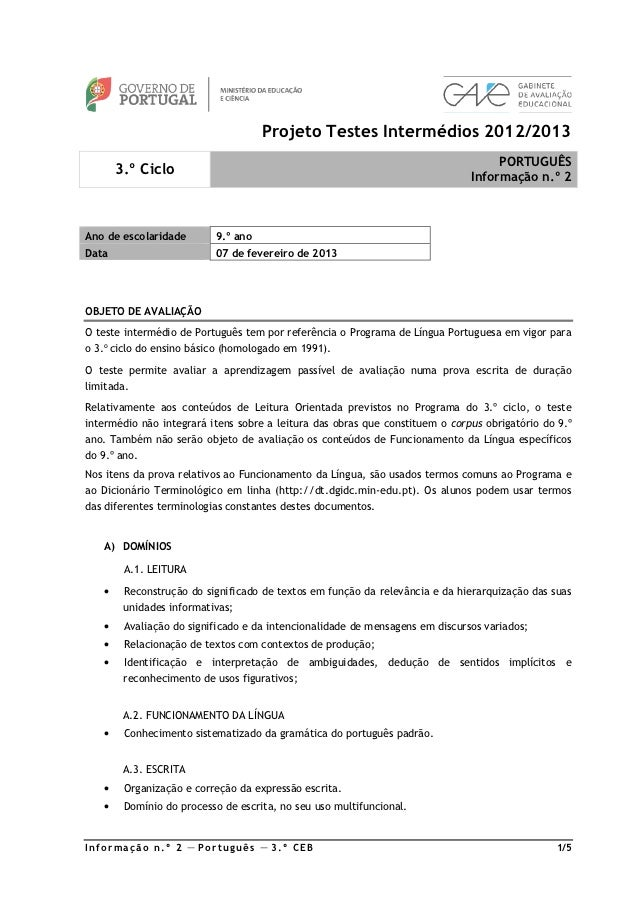 Projeto Testes Intermédios 2012/2013                                                                                   POR...