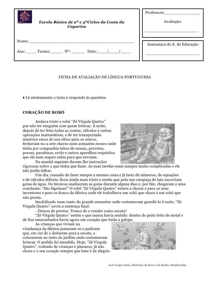 Professora:______________           Escola Básica de 2º e 3ºCiclos da Costa da                                          Av...