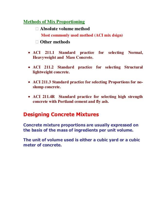 Aci Lightweight Concrete : Teste mix design