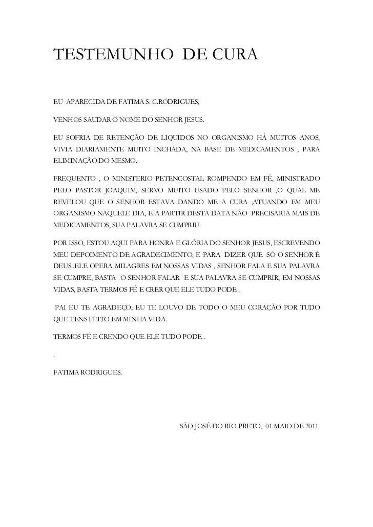 TESTEMUNHO DE CURAEU APARECIDA DE FATIMA S. C.RODRIGUES,VENHOS SAUDAR O NOME DO SENHOR JESUS.EU SOFRIA DE RETENÇÃO DE LIQU...