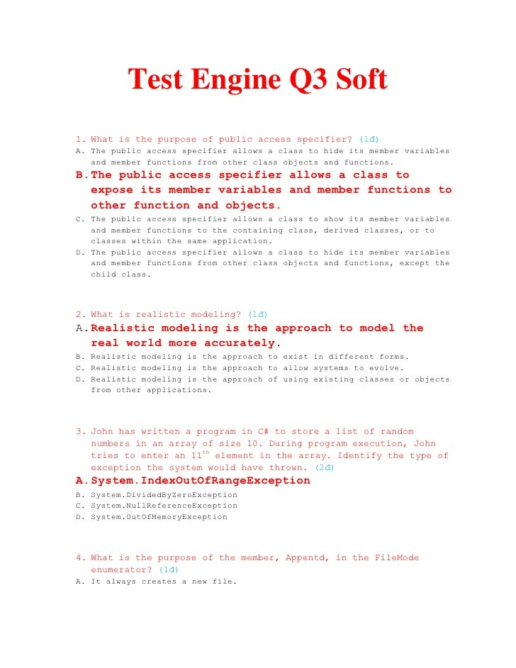 Test Engine Q3 Soft 1. What is the purpose of public access specifier? (1đ) A. The public access specifier allows a class ...