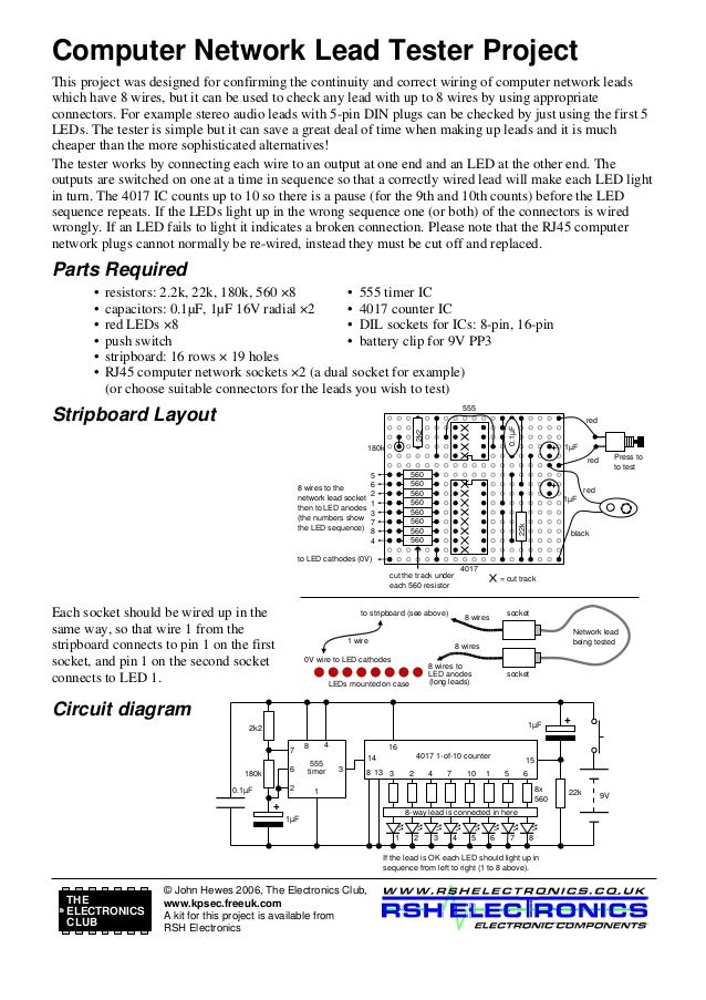 Circuit for continuity tester computer network lead tester project this project was designed for confirming the continuity and correct wiring ccuart Choice Image