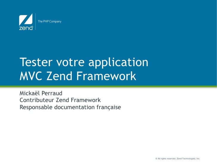 Tester les applications Zend Framework