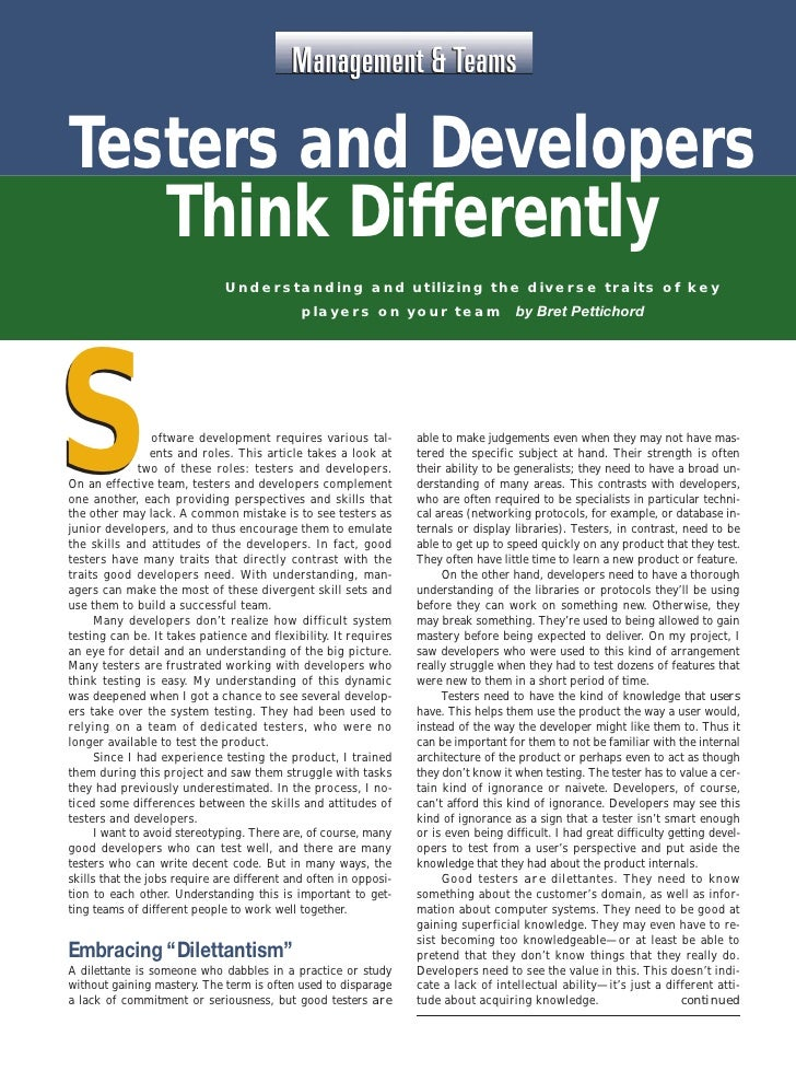 Management & Teams     Testers and Developers        Think Differently                                   Understanding and...