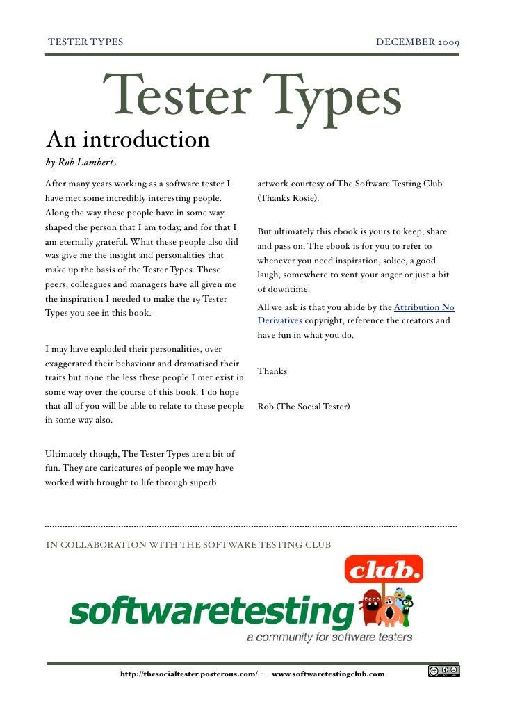TESTER TYPES                                                                           DECEMBER 2009                    Te...