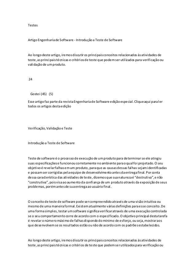 Testes ArtigoEngenhariade Software - Introduçãoa Teste de Software Ao longodeste artigo,iremosdiscutirosprincipaisconceito...