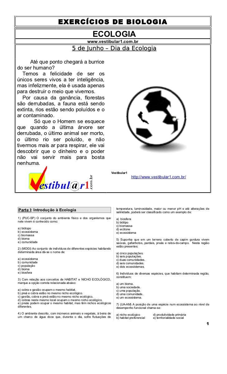 EXERCÍCIOS DE BIOLOGIA                                                      ECOLOGIA                                      ...