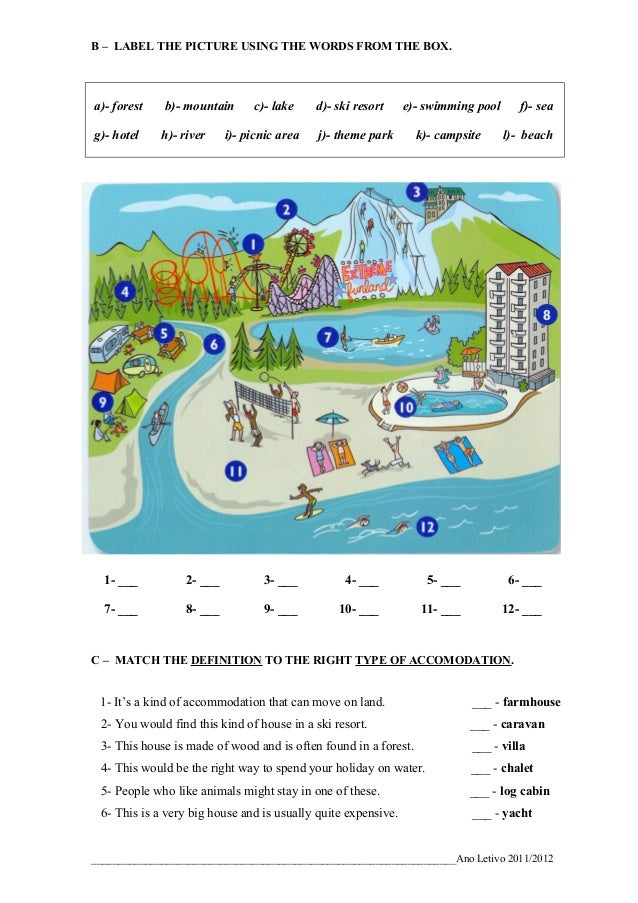B – LABEL THE PICTURE USING THE WORDS FROM THE BOX.a)- forest    b)- mountain     c)- lake     d)- ski resort     e)- swim...