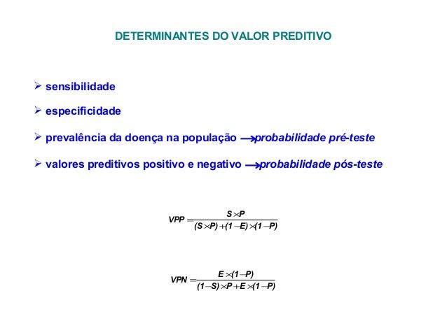 DETERMINANTES DO VALOR PREDITIVO  sensibilidade  especificidade  prevalência da doença na população →probabilidade pré-...