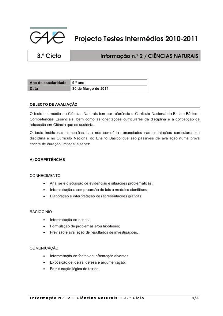 Projecto Testes Intermédios 2010-2011    3.º Ciclo                                Informação n.º 2 / CIÊNCIAS NATURAISAno ...