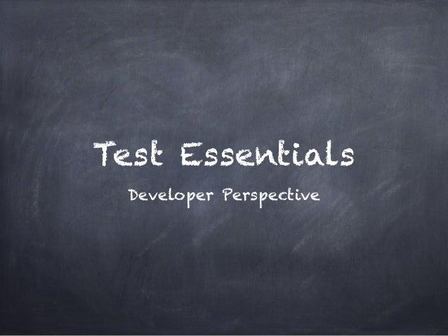 Test Essentials Developer Perspective