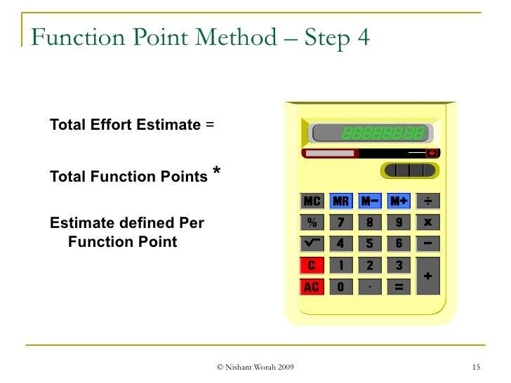 Function Point Method – Step 4 <ul><ul><li>Total Effort Estimate  =  </li></ul></ul><ul><ul><li>Total Function Points   * ...