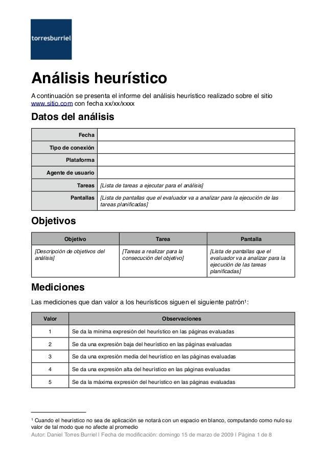 Análisis heurístico A continuación se presenta el informe del análisis heurístico realizado sobre el sitio www.sitio.com c...