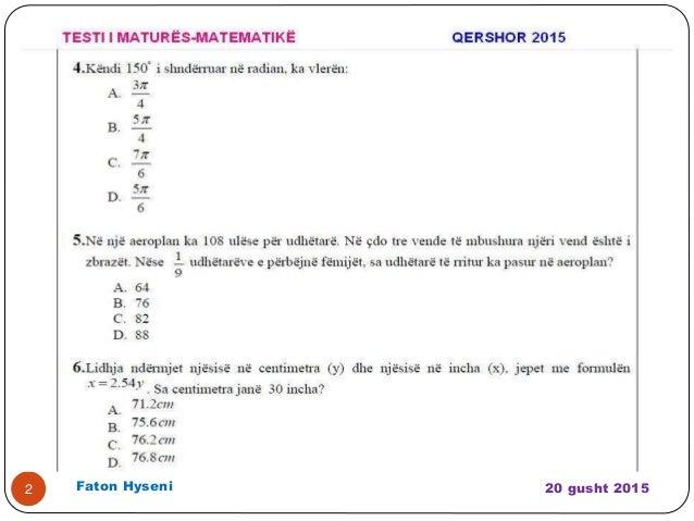 Testi i matures matematike( qershor 2015 ) Slide 2