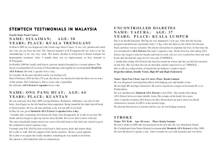 STEMTECH TESTIMONIALS IN MALAYSIA                                                               UNCONTROLLED DIABETES     ...