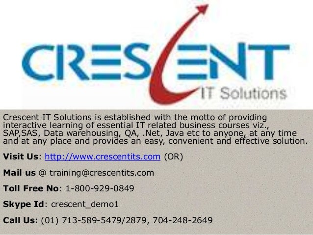 Crescent IT Solutions is established with the motto of providinginteractive learning of essential IT related business cour...